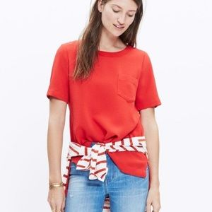 Madewell Red Industry Button Down Back Top